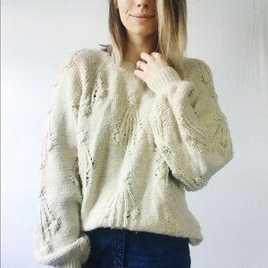 Gap Oversized Grandpa Wool Blend Tan Thick Sweater